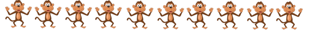 ten monkeys holding hands