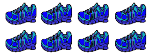 8 blue shoes