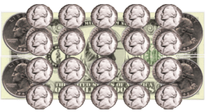 dollar with nickels on it