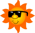 sun cartoon with face