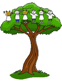 tree cartoon with stick figures at top