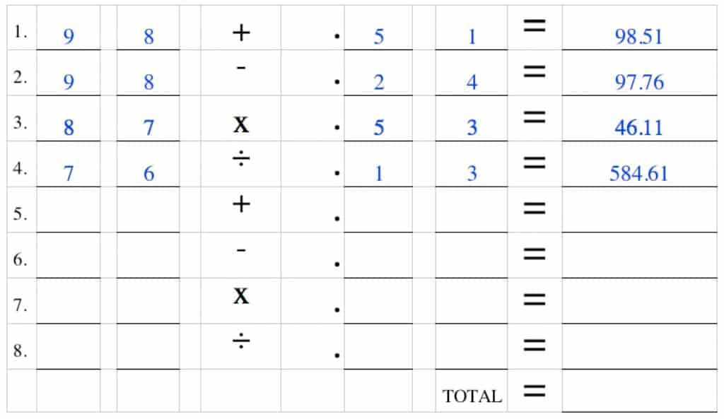 decimal logic game example