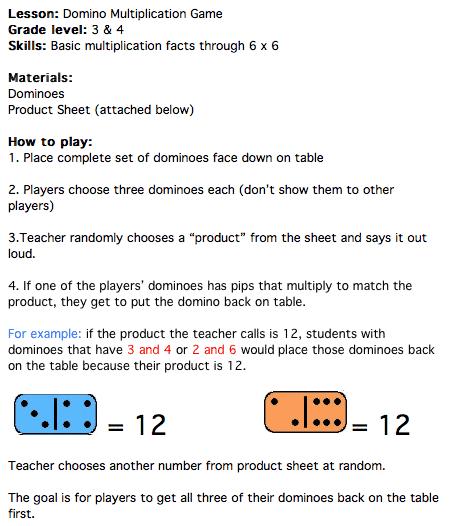 dominoes multiplication game