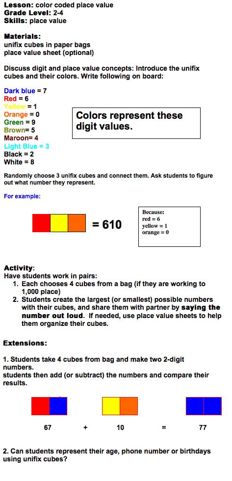 place value unifix cube activity