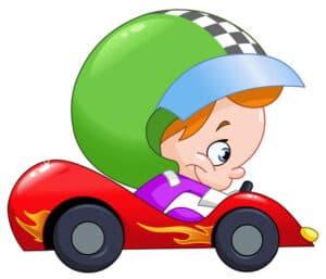 kid racing a car