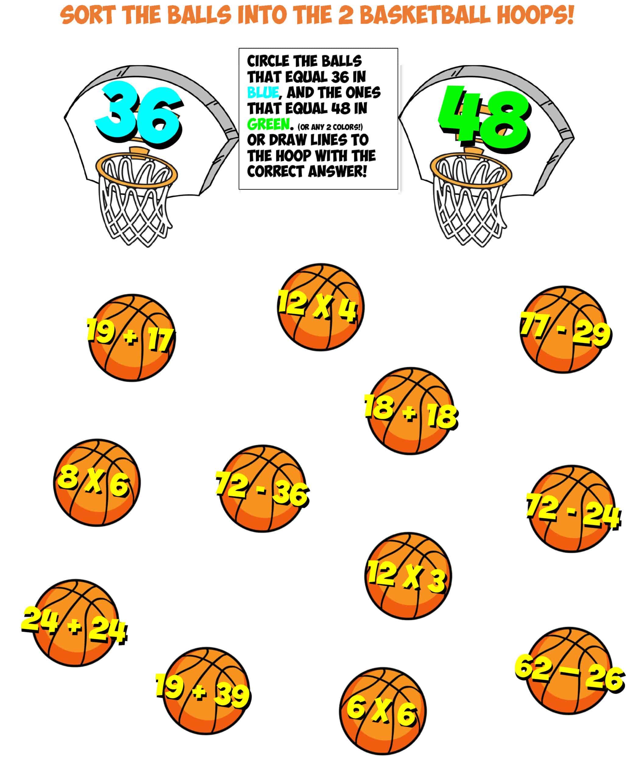 basketball math sort #4