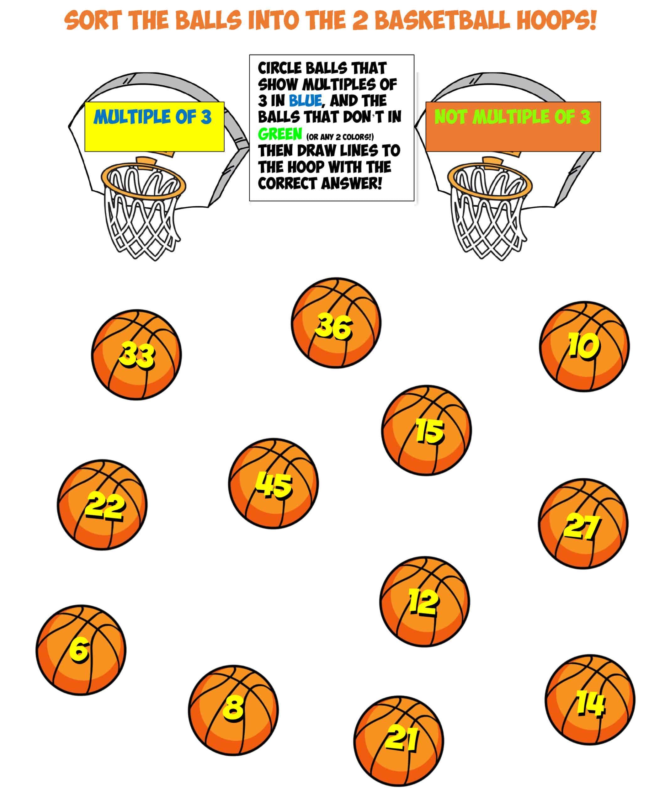 basketball sort worksheet #10 multiples of 3