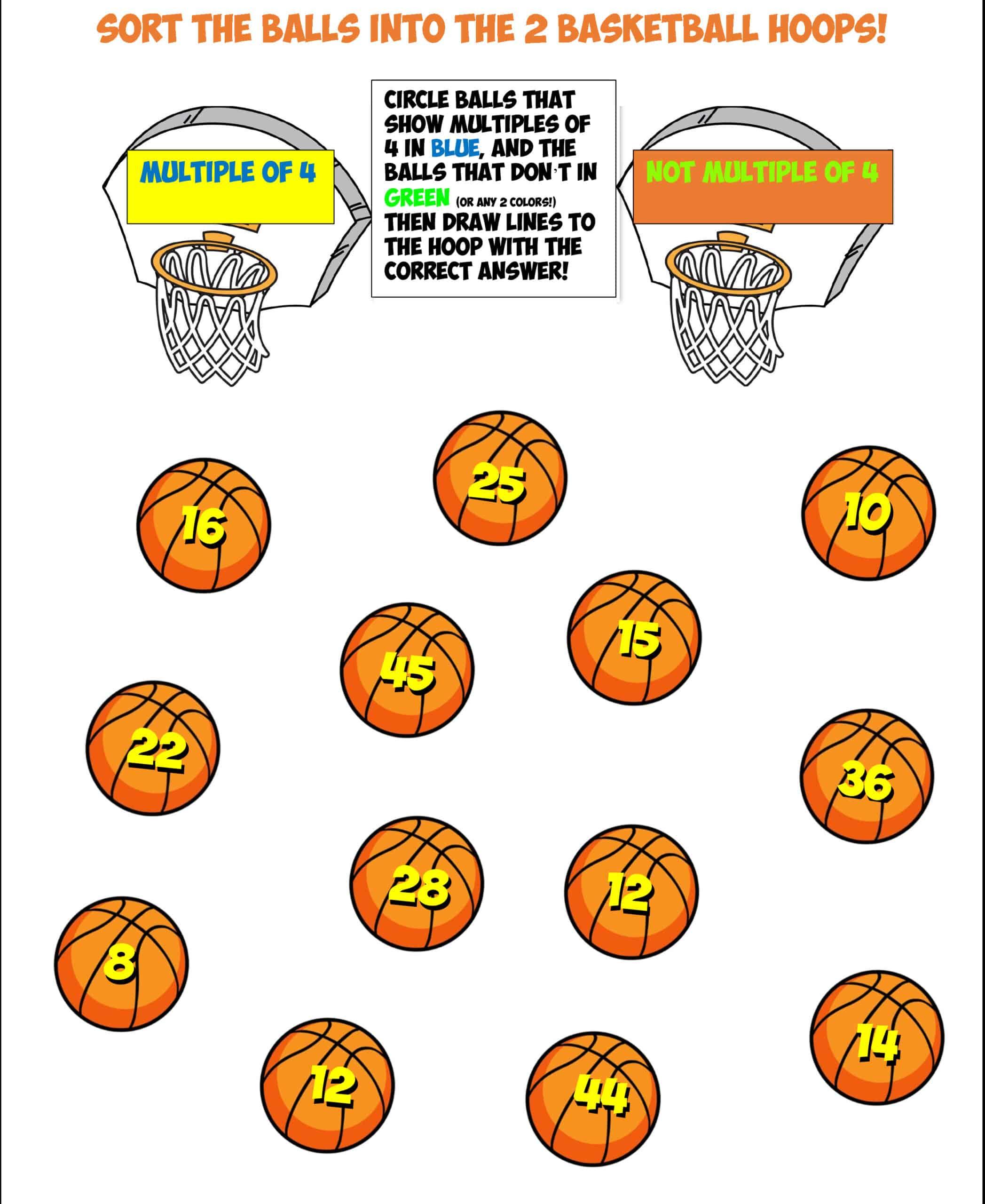 basketball sort worksheet #11 multiples of 4