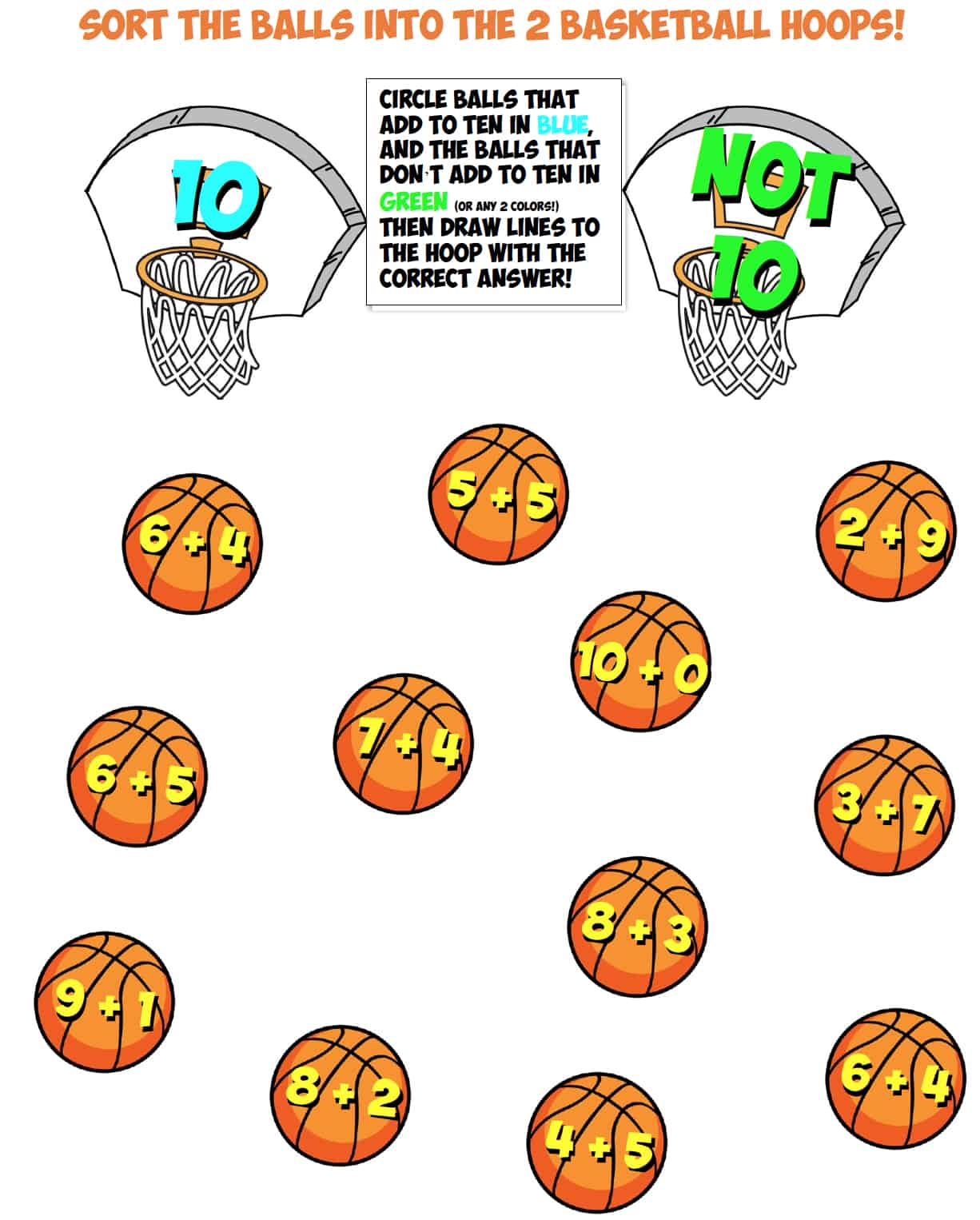 basketball sort worksheet #7 make ten