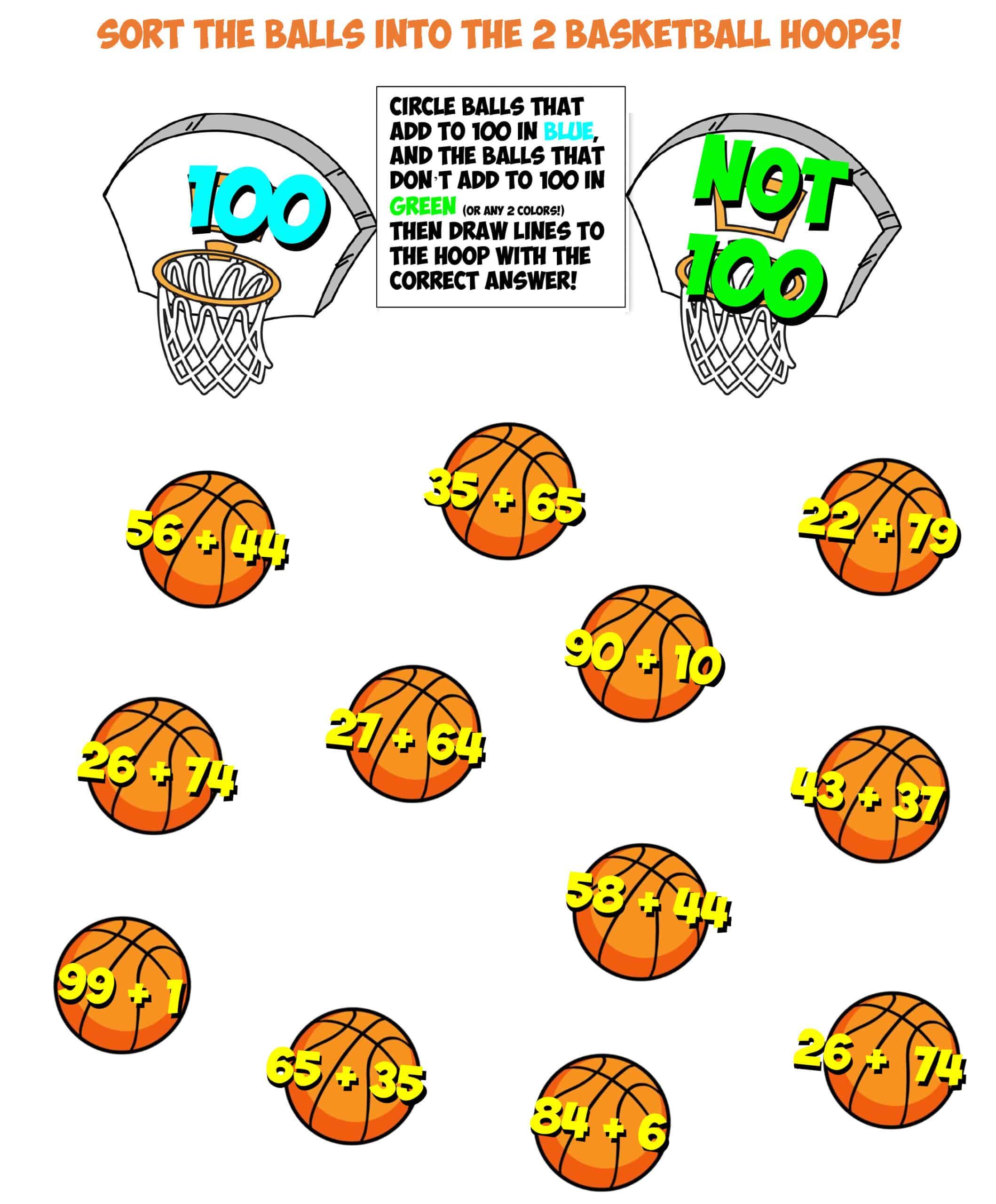 basketball sort 8 adding to 100
