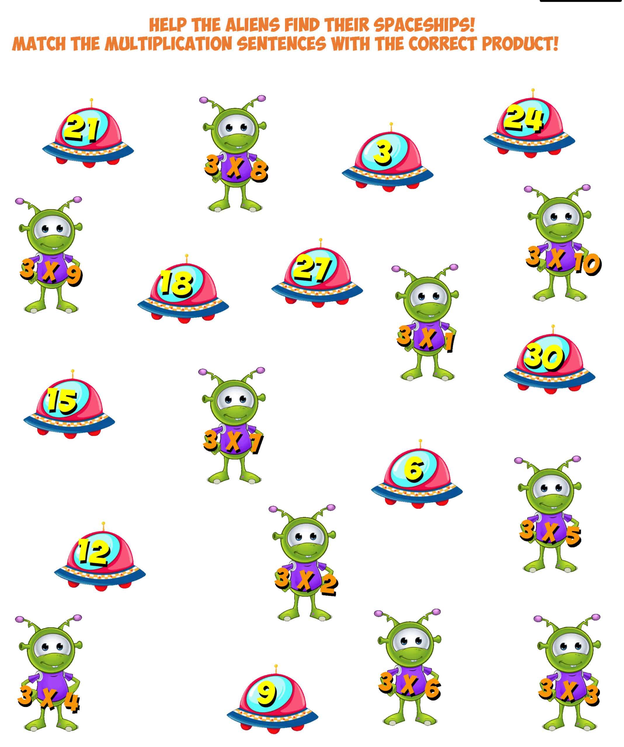 Alien Worksheet 10- multiplication facts 3