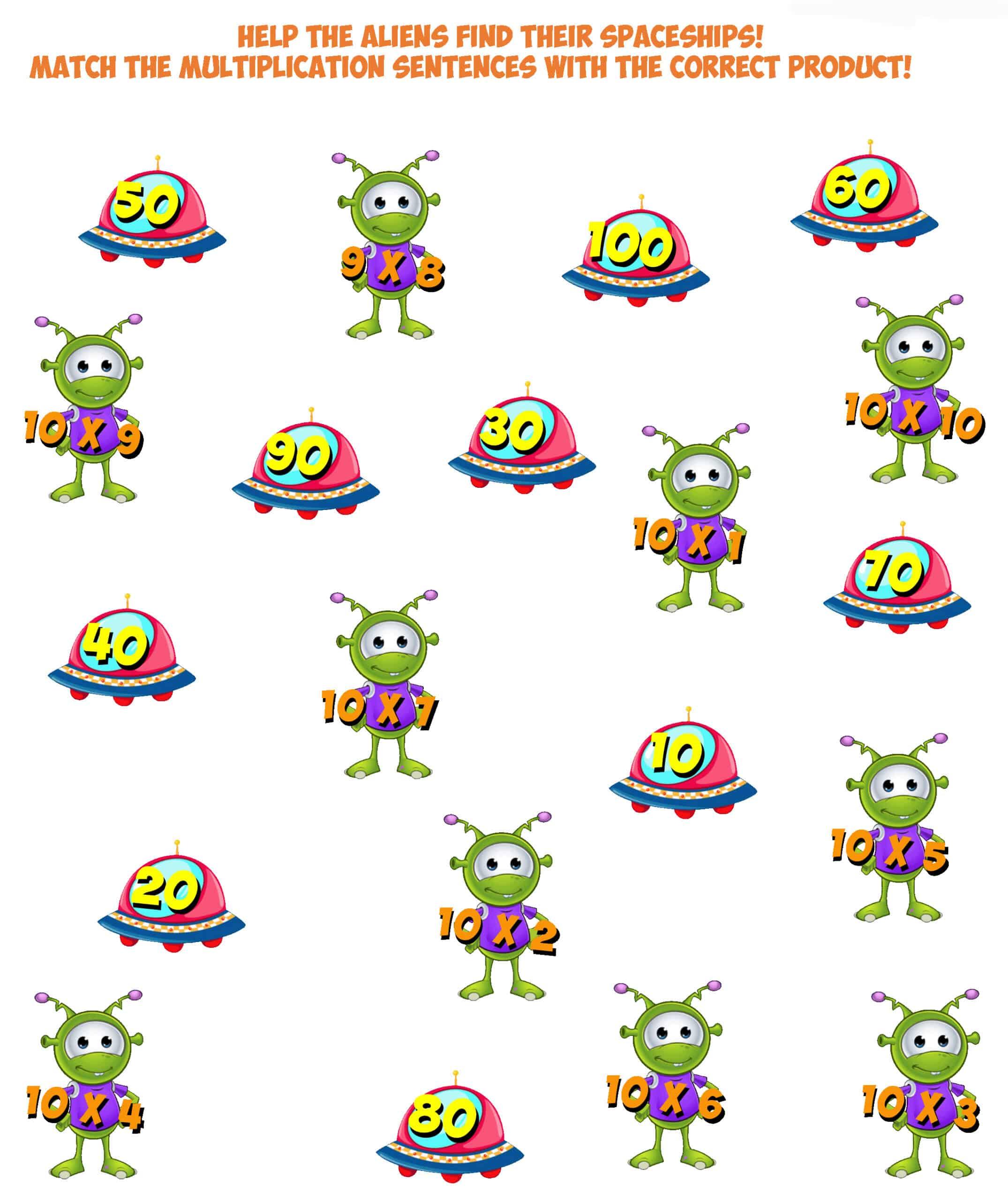 Alien Worksheet 11- multiplication facts 10
