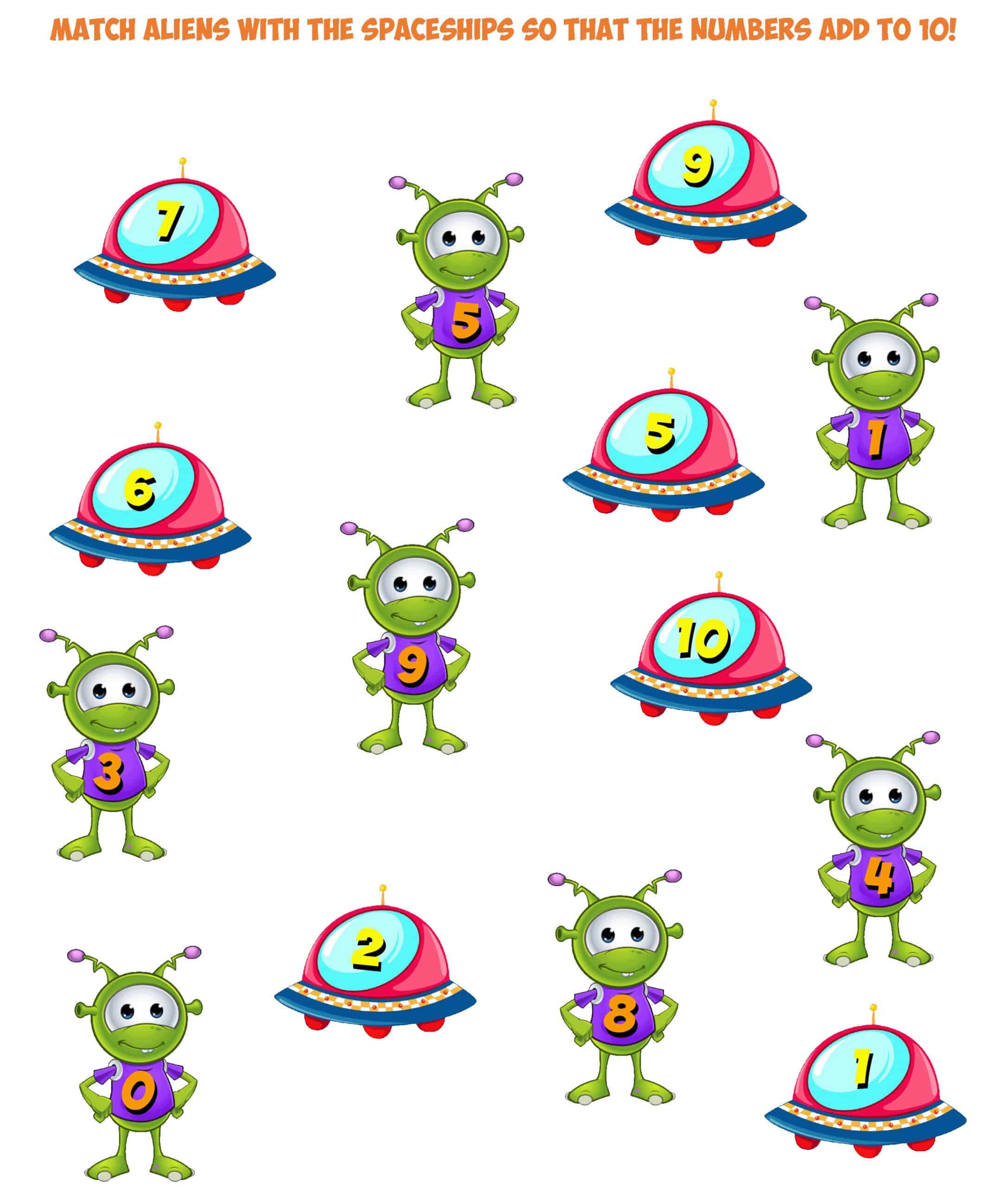 alien worksheet 2- sums to ten