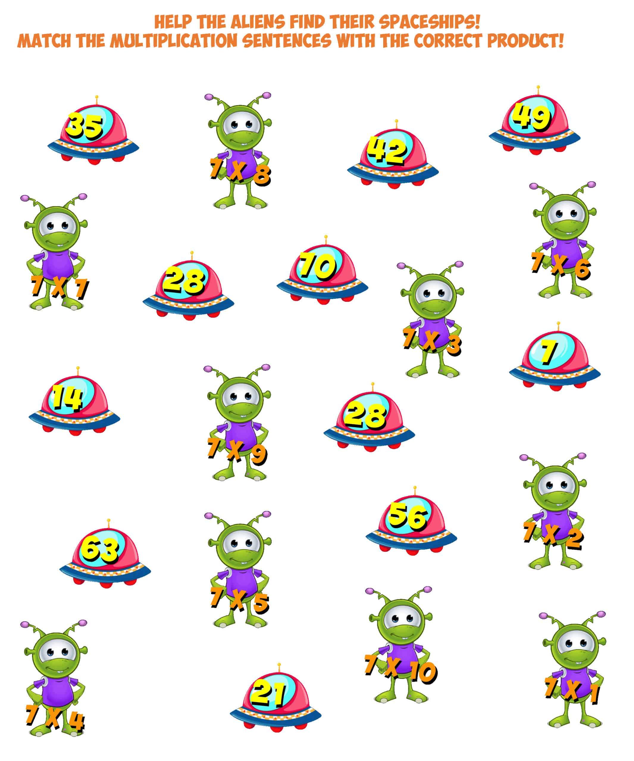 Alien Worksheet 7- multiplication facts 7