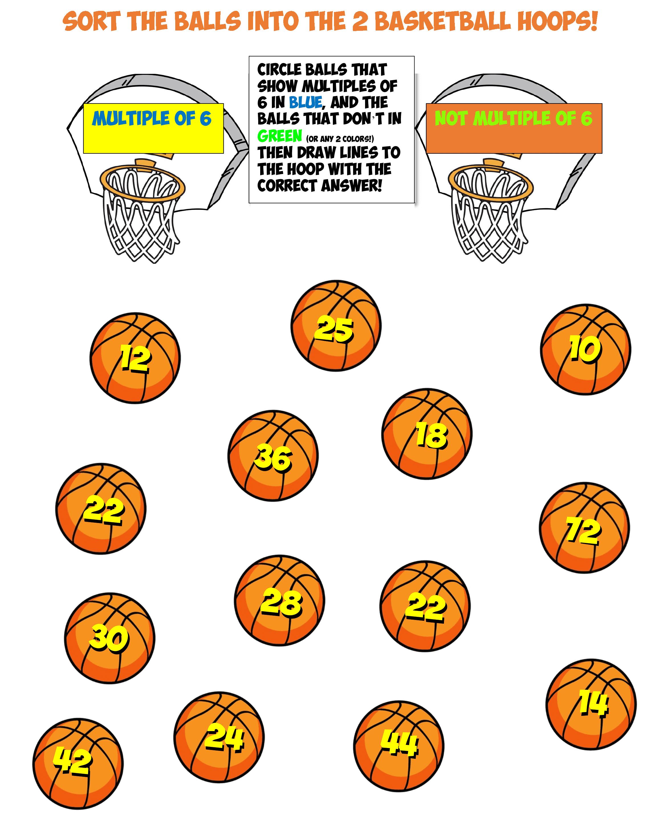 basketball sort worksheet #12 multiples of 6