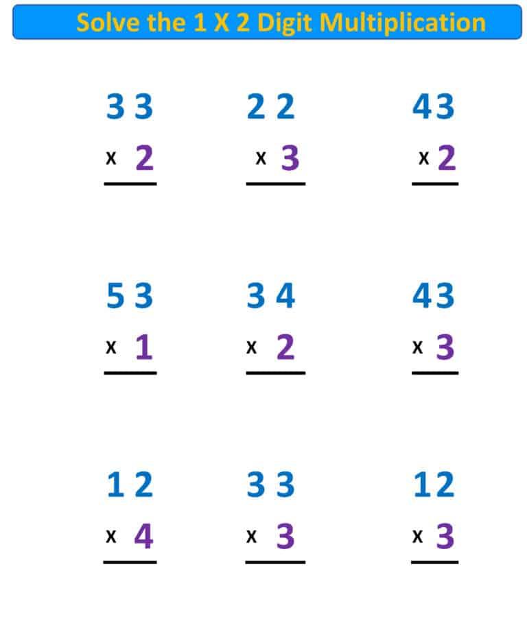 Multiplication Worksheet 1X2 Digits No Regrouping