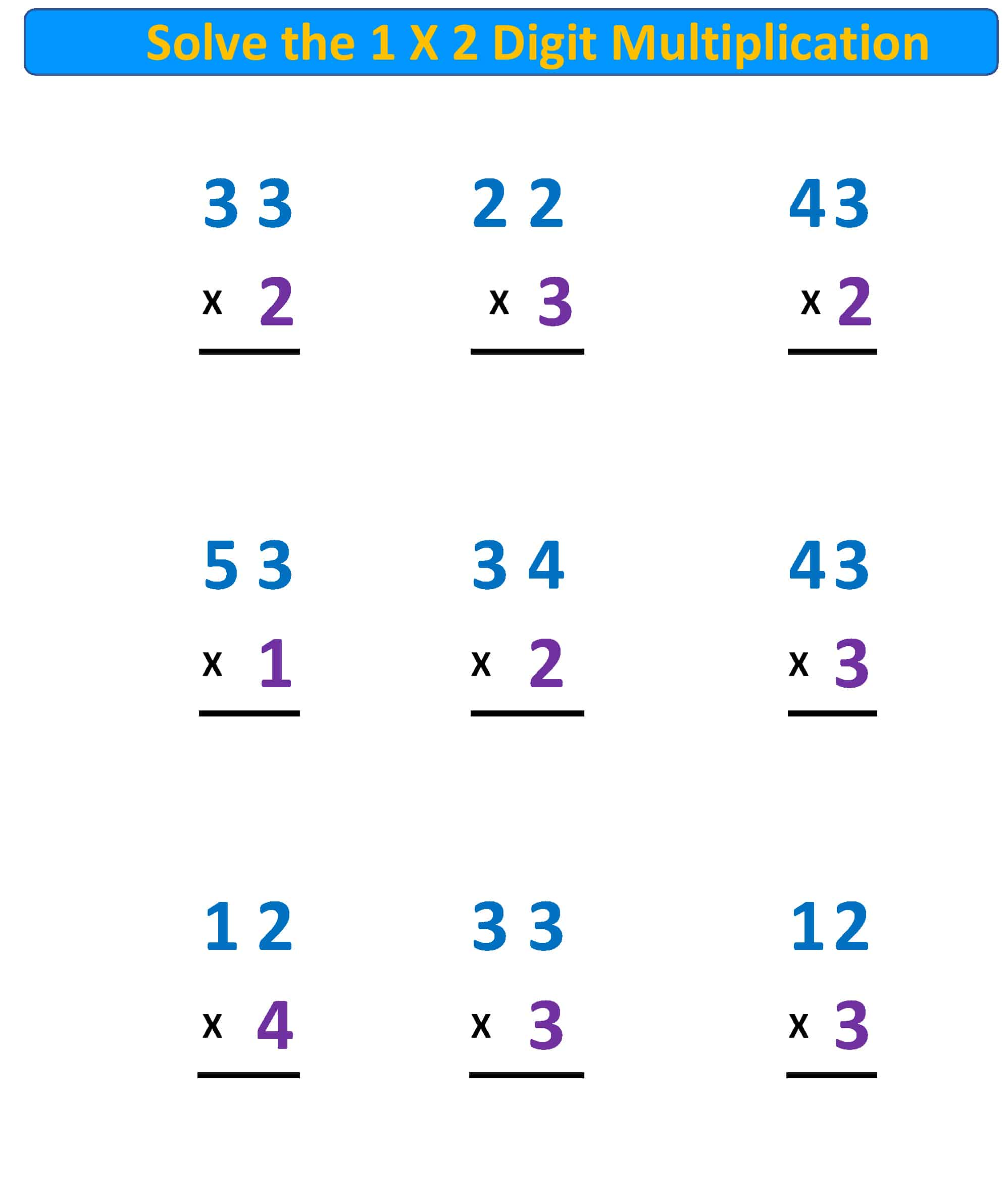 Multiplication Worksheet 1X2 Digits No Regrouping