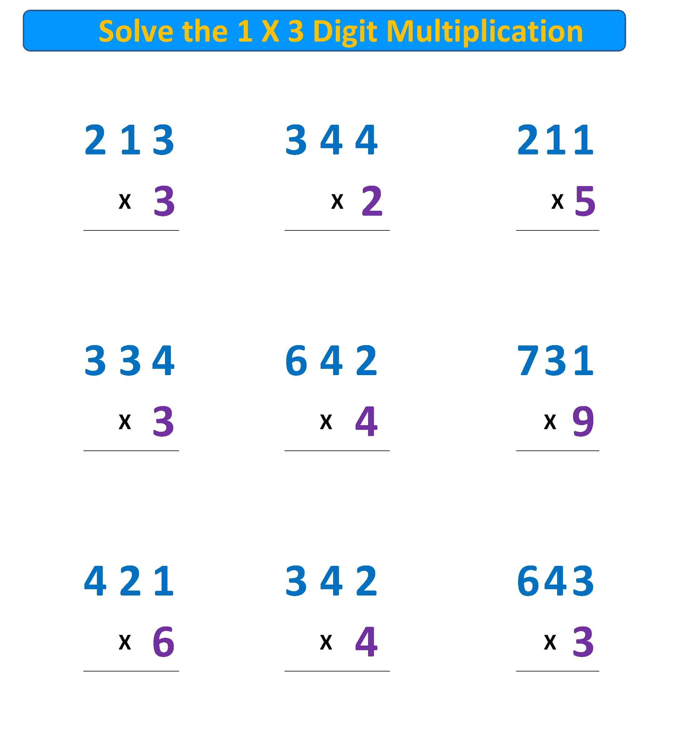 Multiplication 1X3 regroup tens hundreds