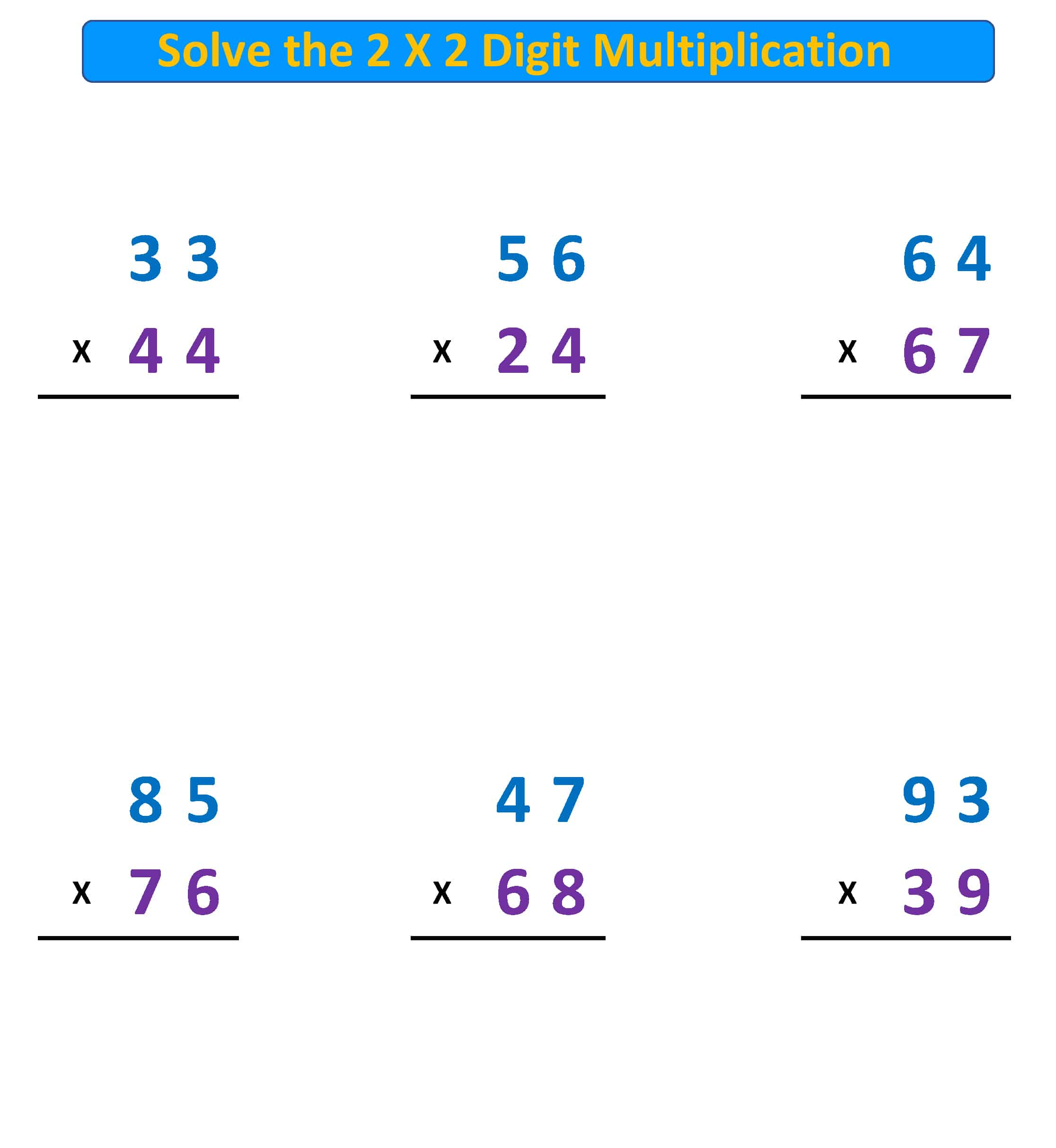 Multiplication 2X2 regroup A
