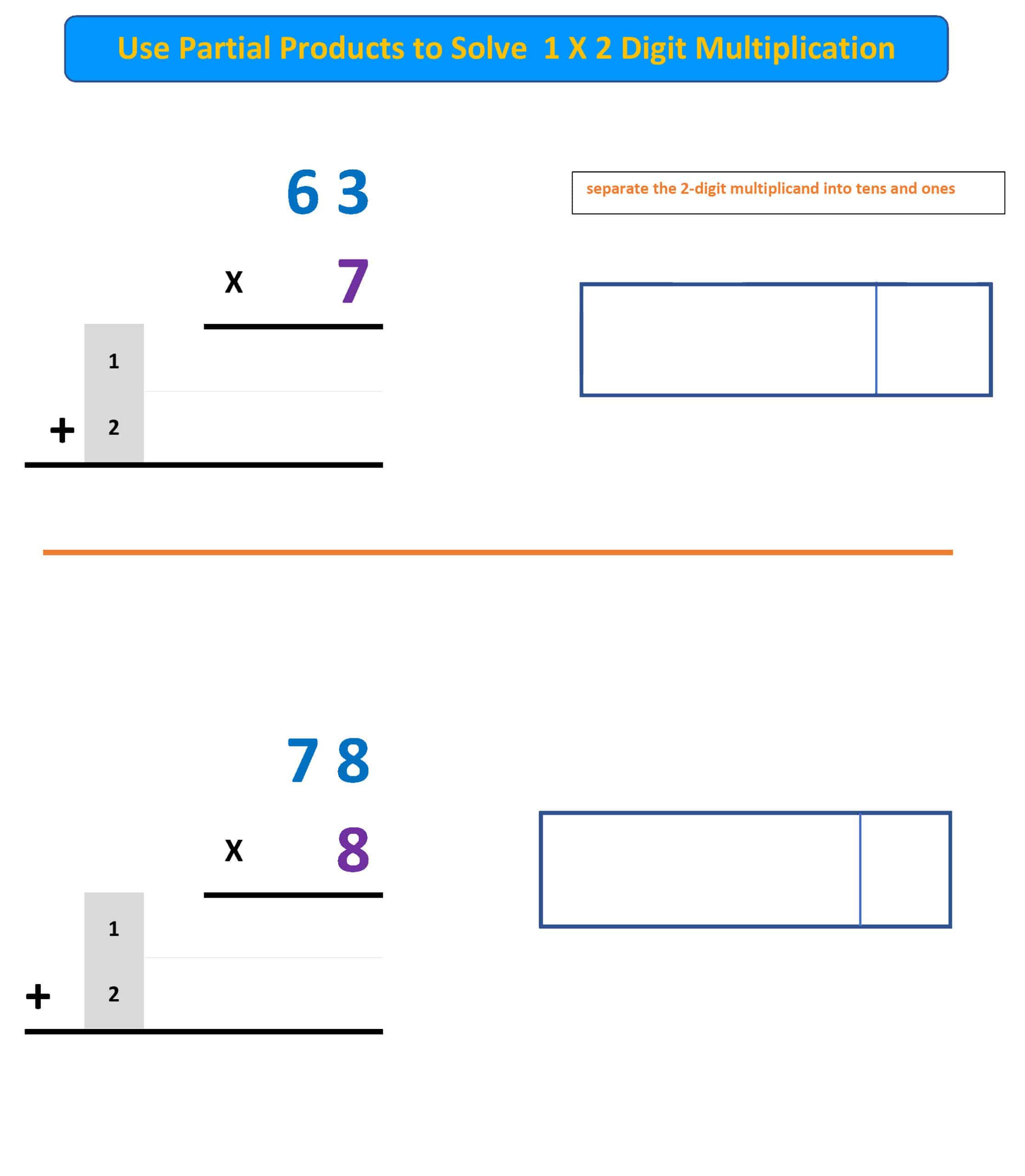 partial products multiplication 1X2