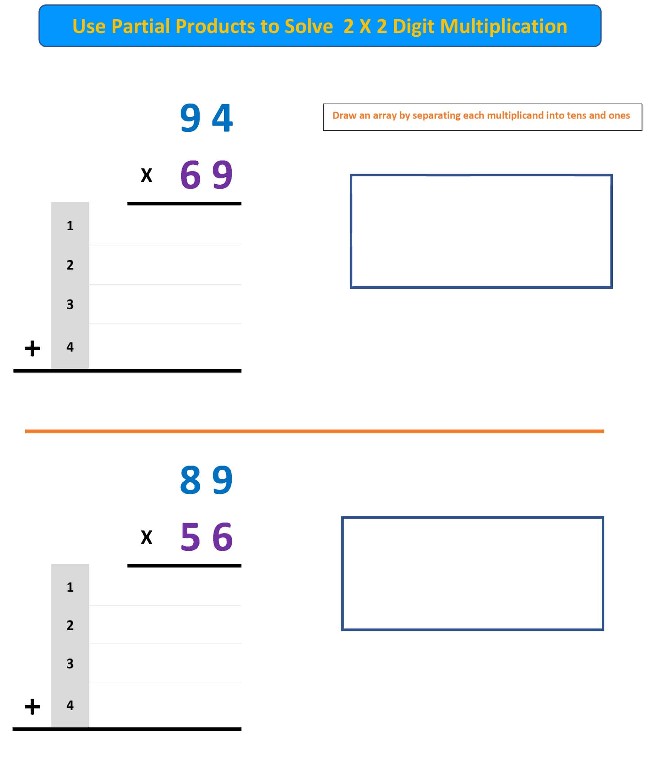 partial products multiplication worksheet 3
