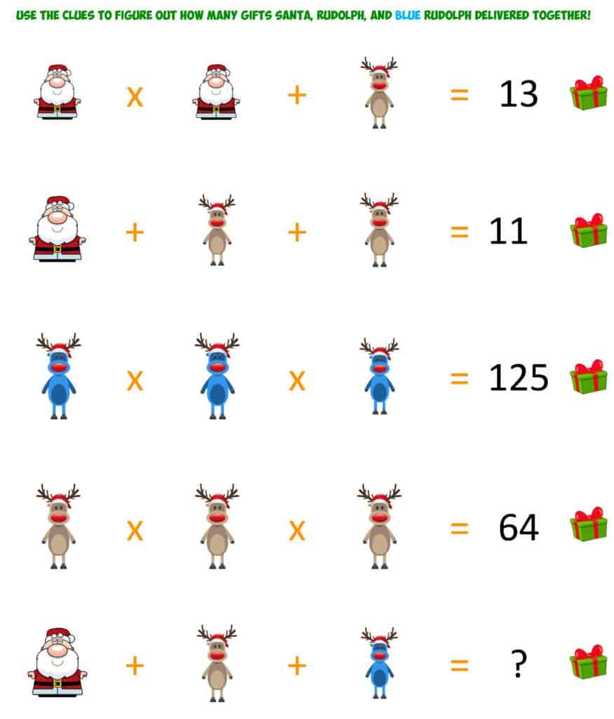 Santa Christmas Gifts Algebra 3