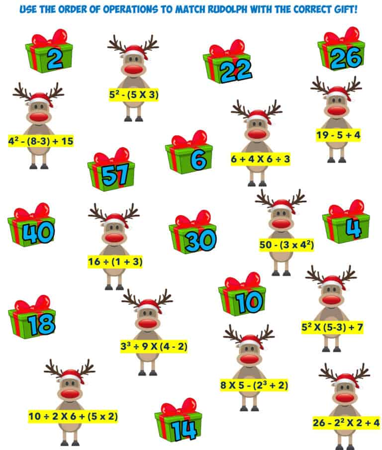 Christmas order of operations 3 with exponents