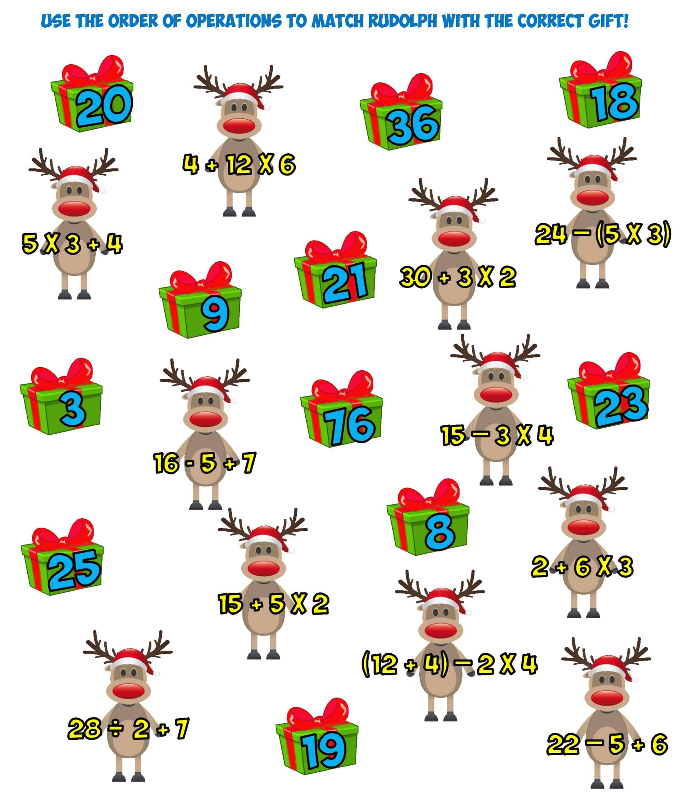 Christmas order of operations worksheet