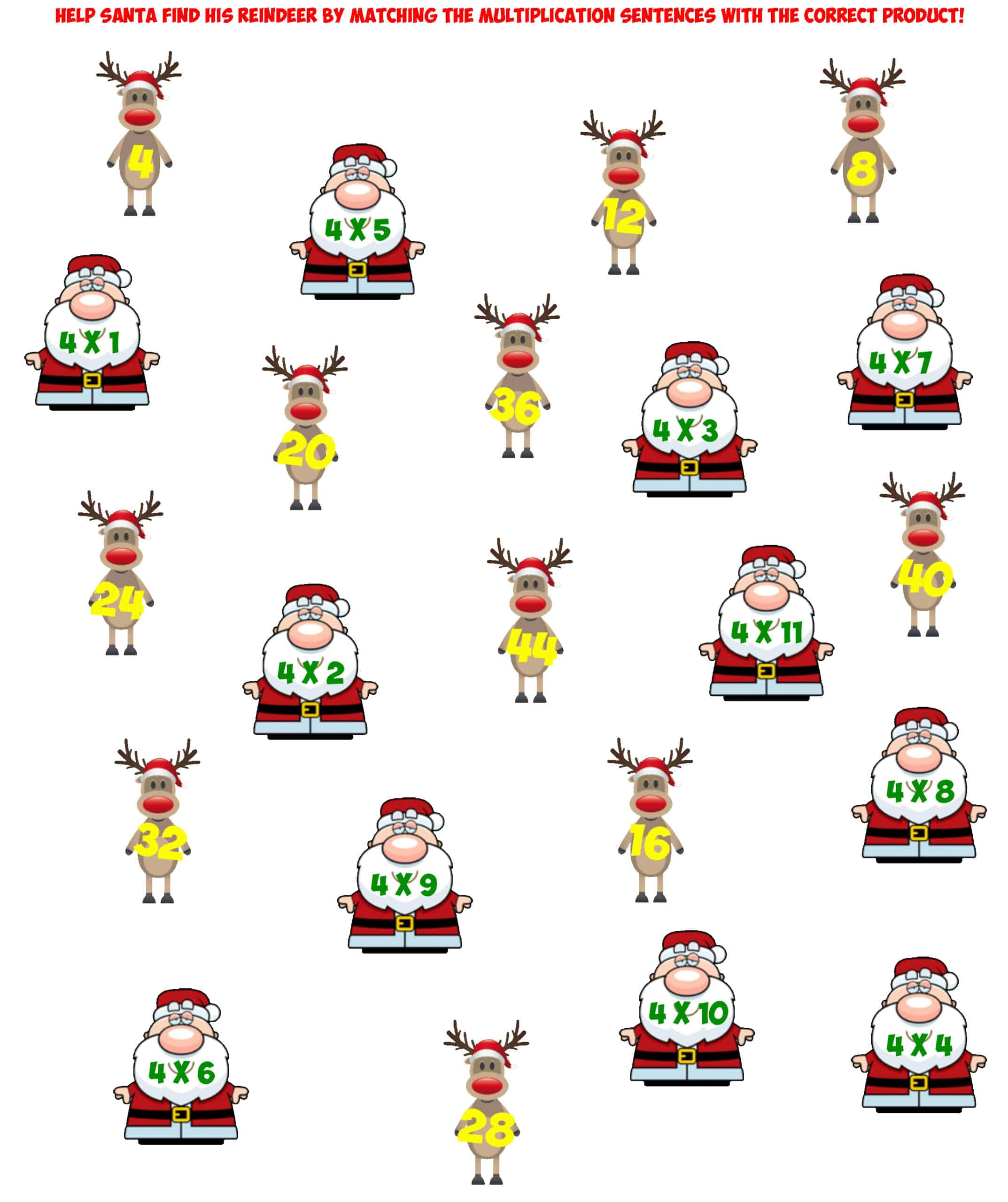 Santa 4X Multiplication facts