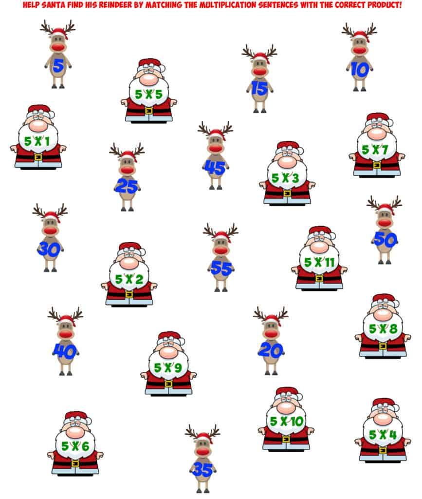 Santa 5X multiplication facts