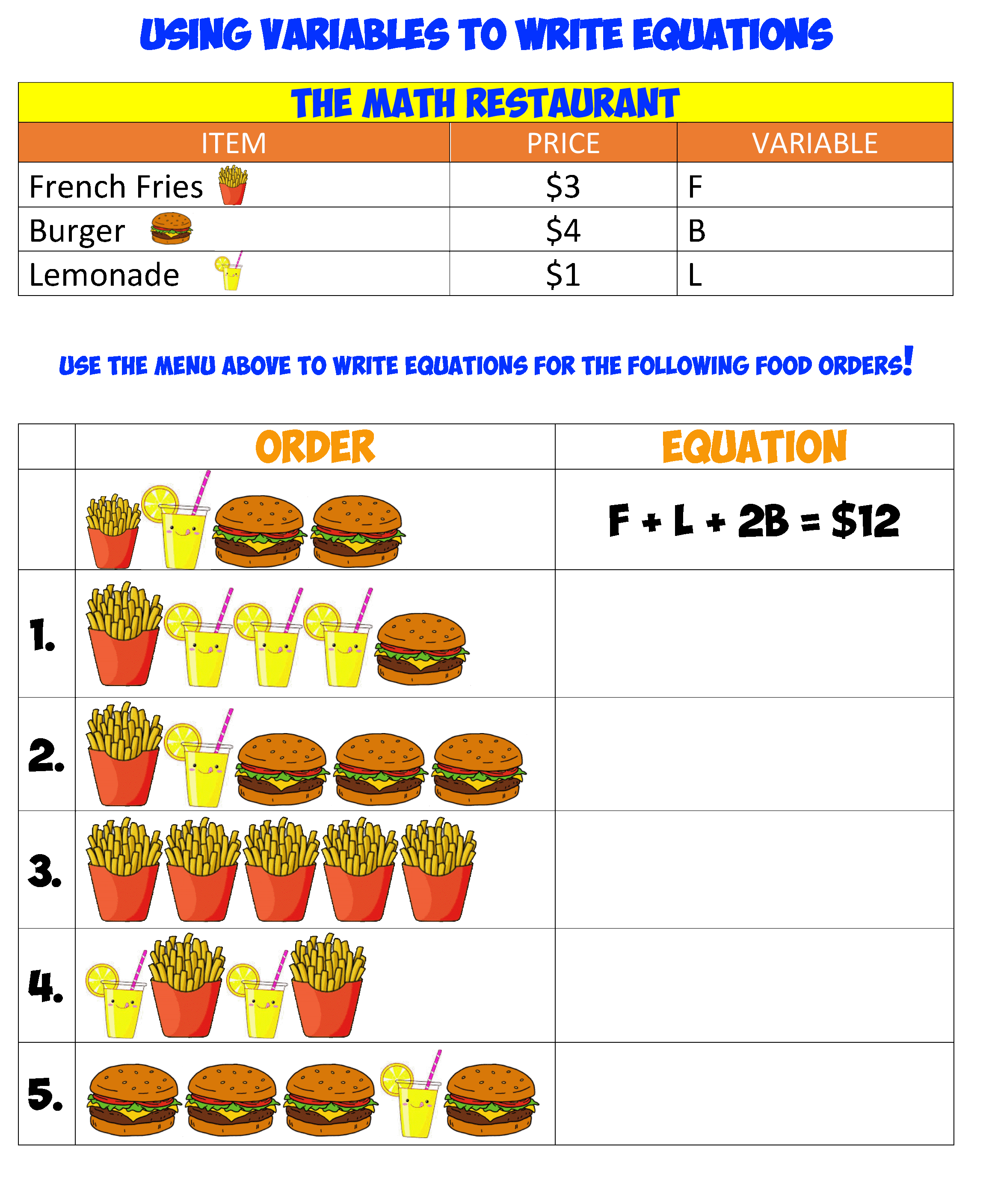 variables and equations 1