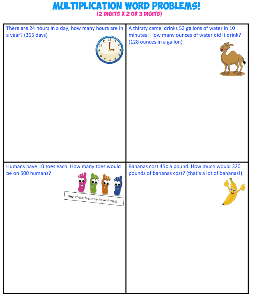 multiplication word problems 3-2X