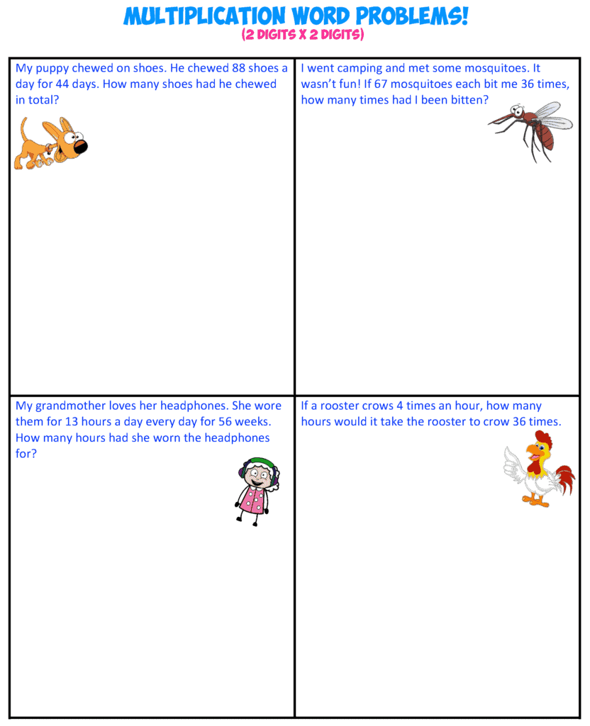 multiplication word problems 4-2X