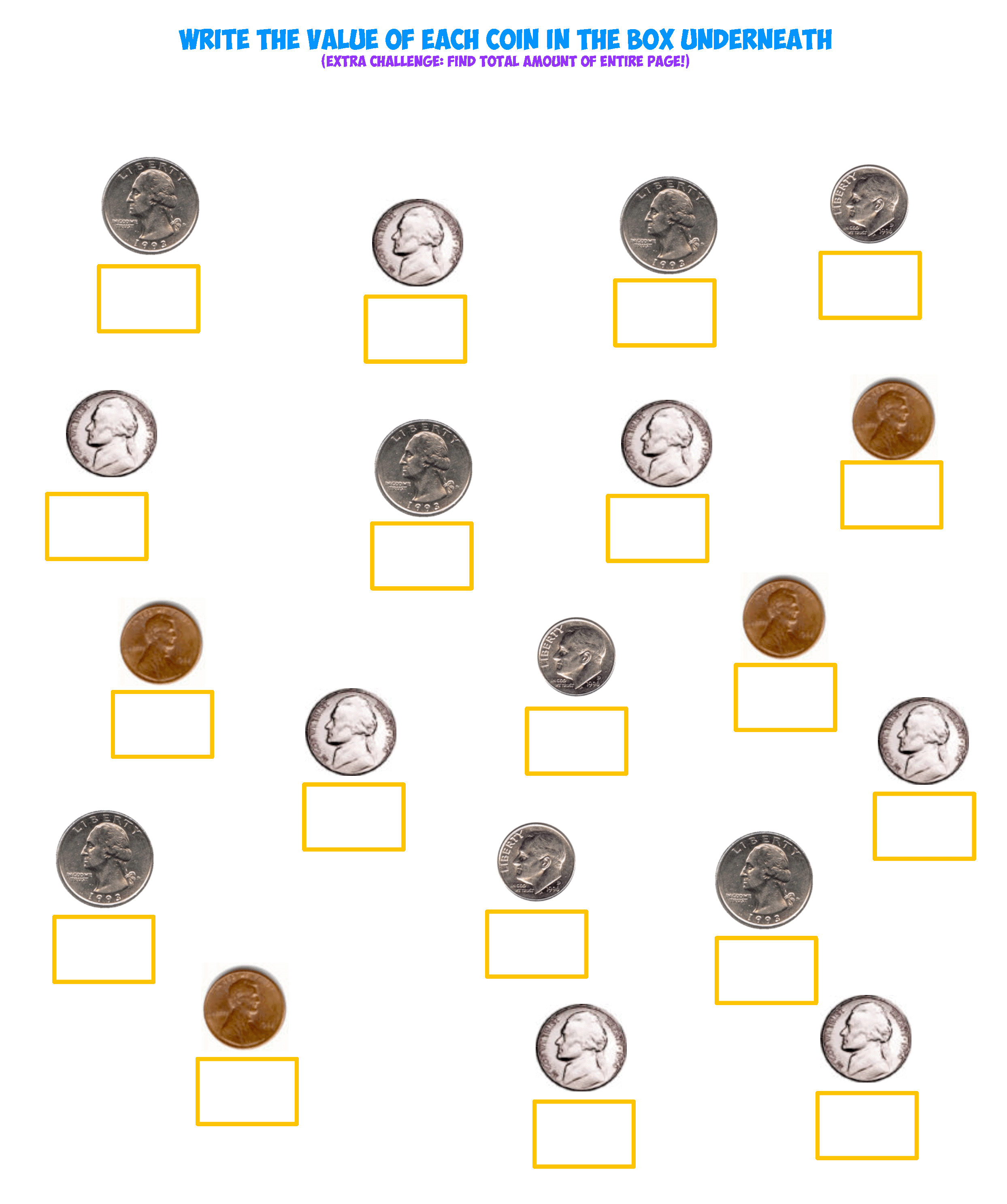 Coin Values Sheet 1