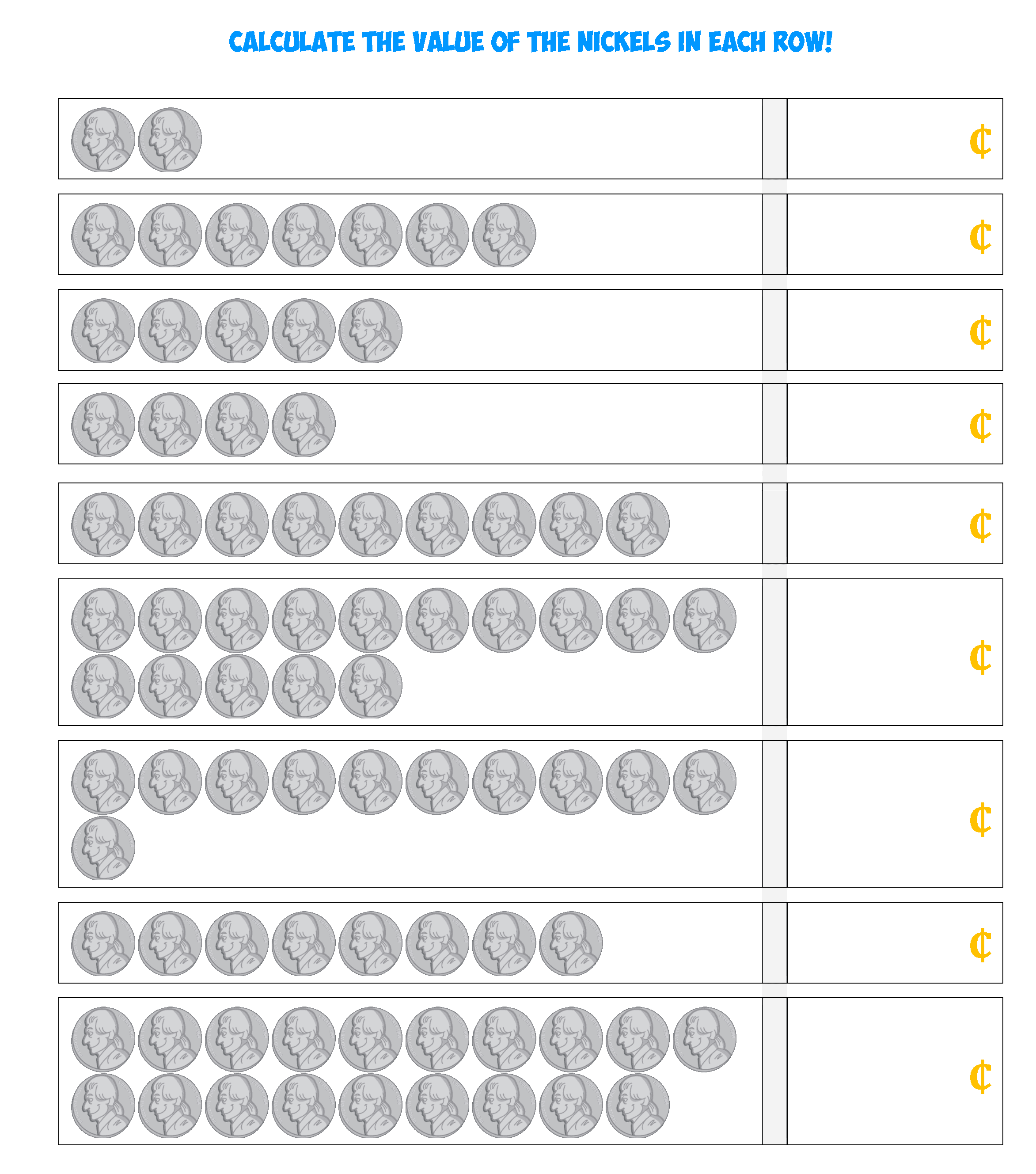 NIckel Coin Counting Sheet