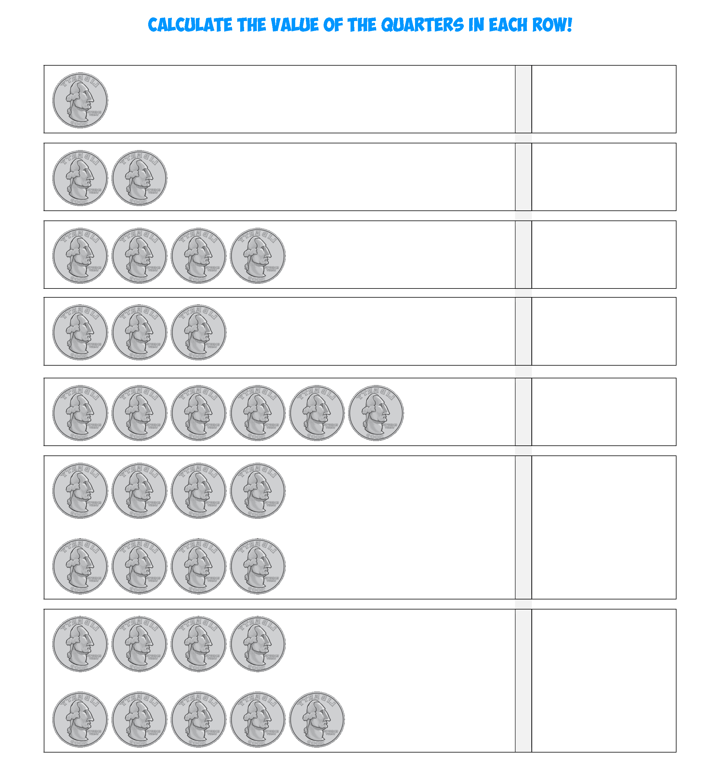 Quarters Counting Sheet
