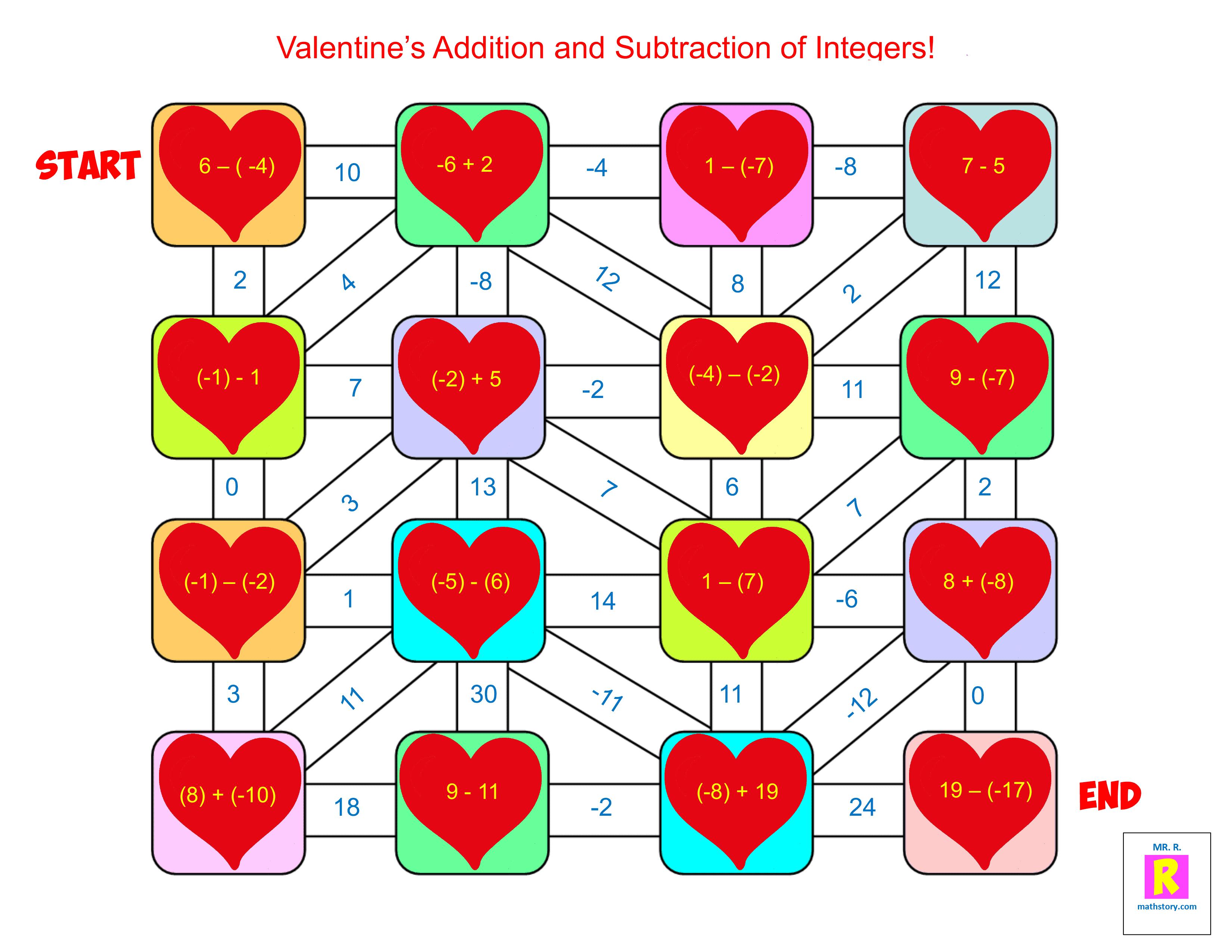 Valentines Addition Maze 1