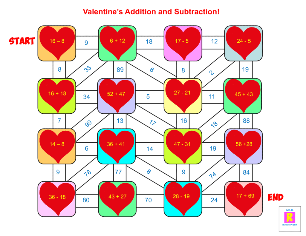 Valentines Addition & Subtraction 3rd grade Maze 1