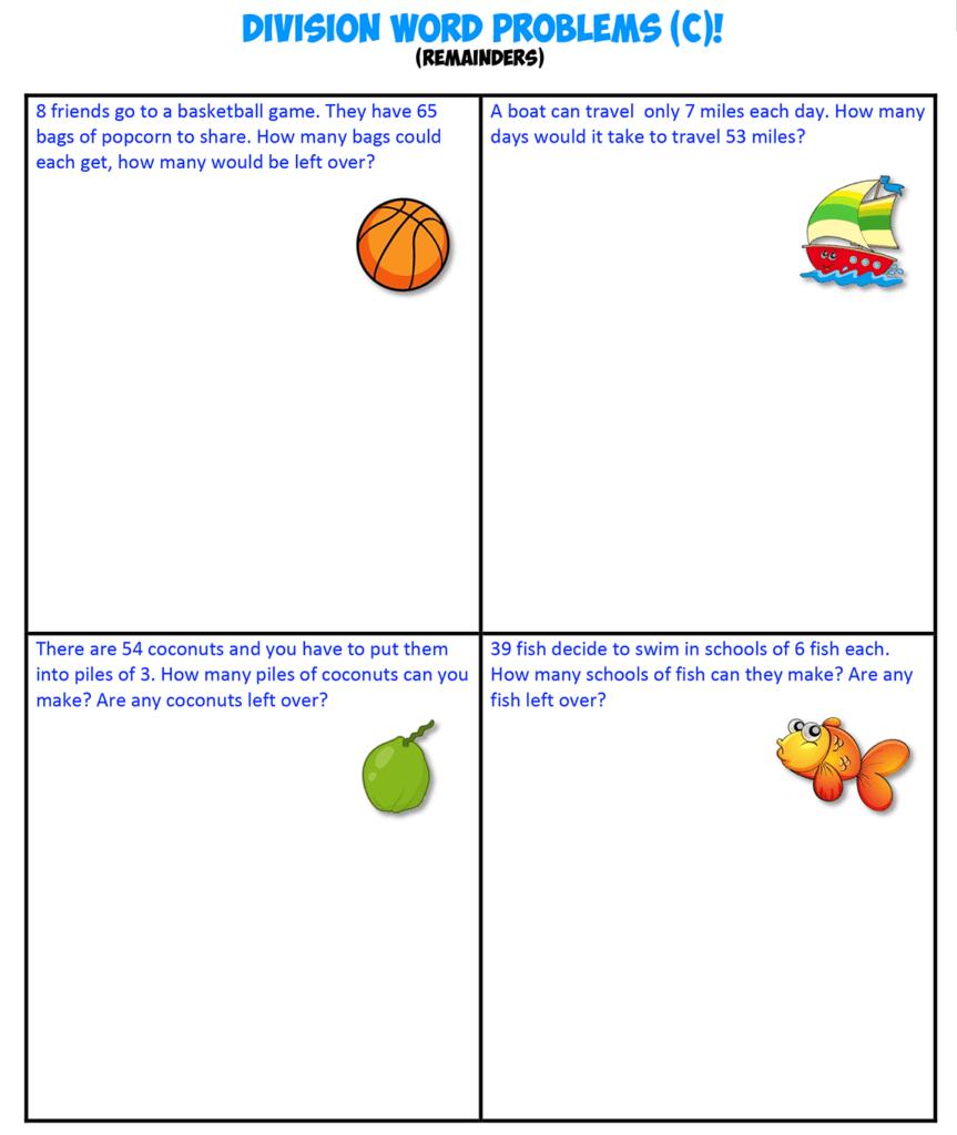 Division Word Problems C remainders