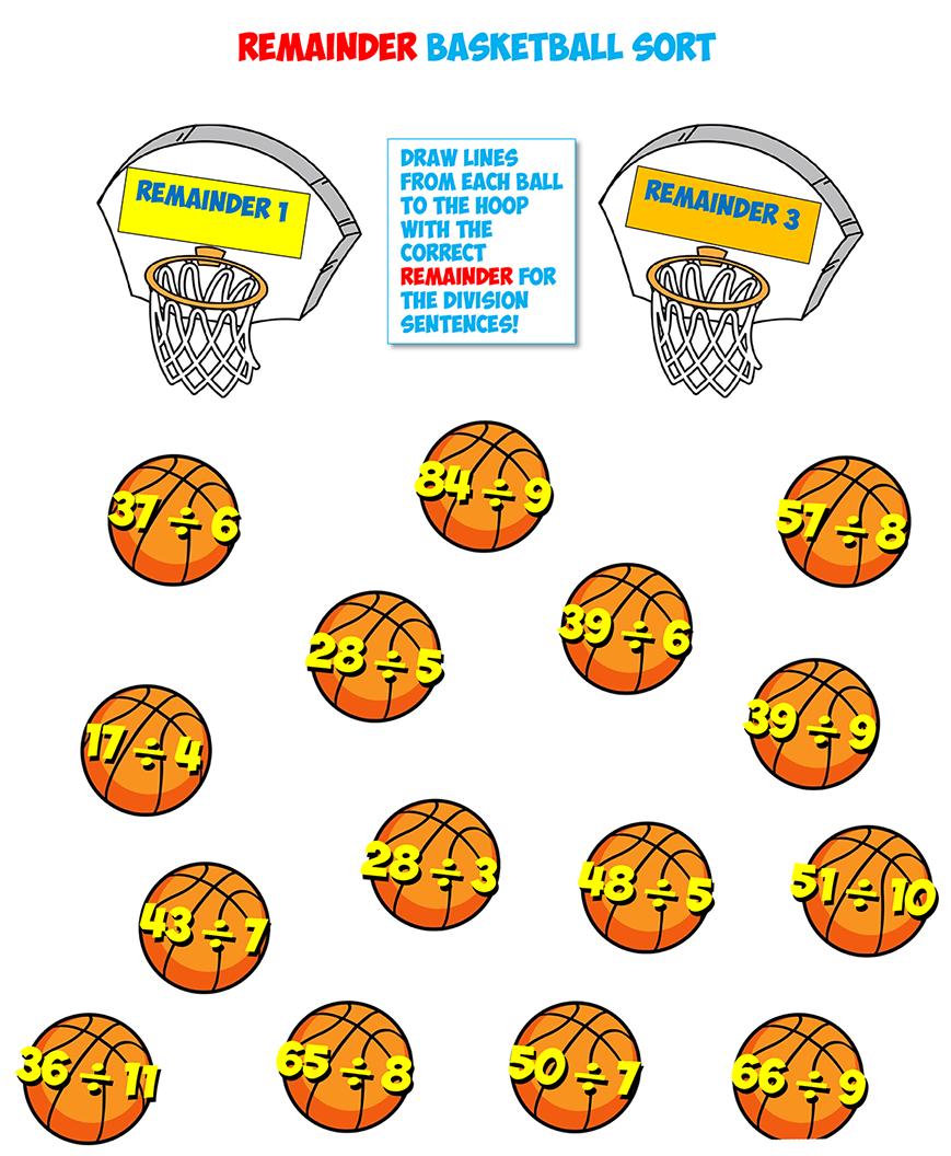 basketball remainders worksheet 1
