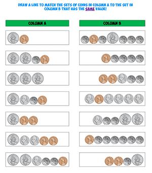 coin value worksheet math