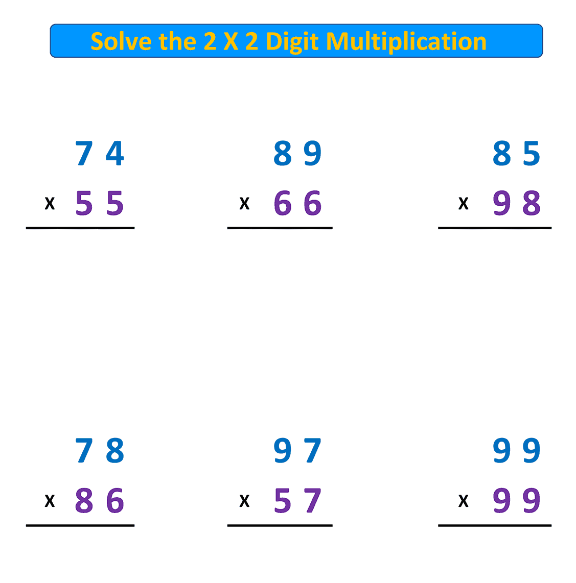 multiplication with regrouping 2X2