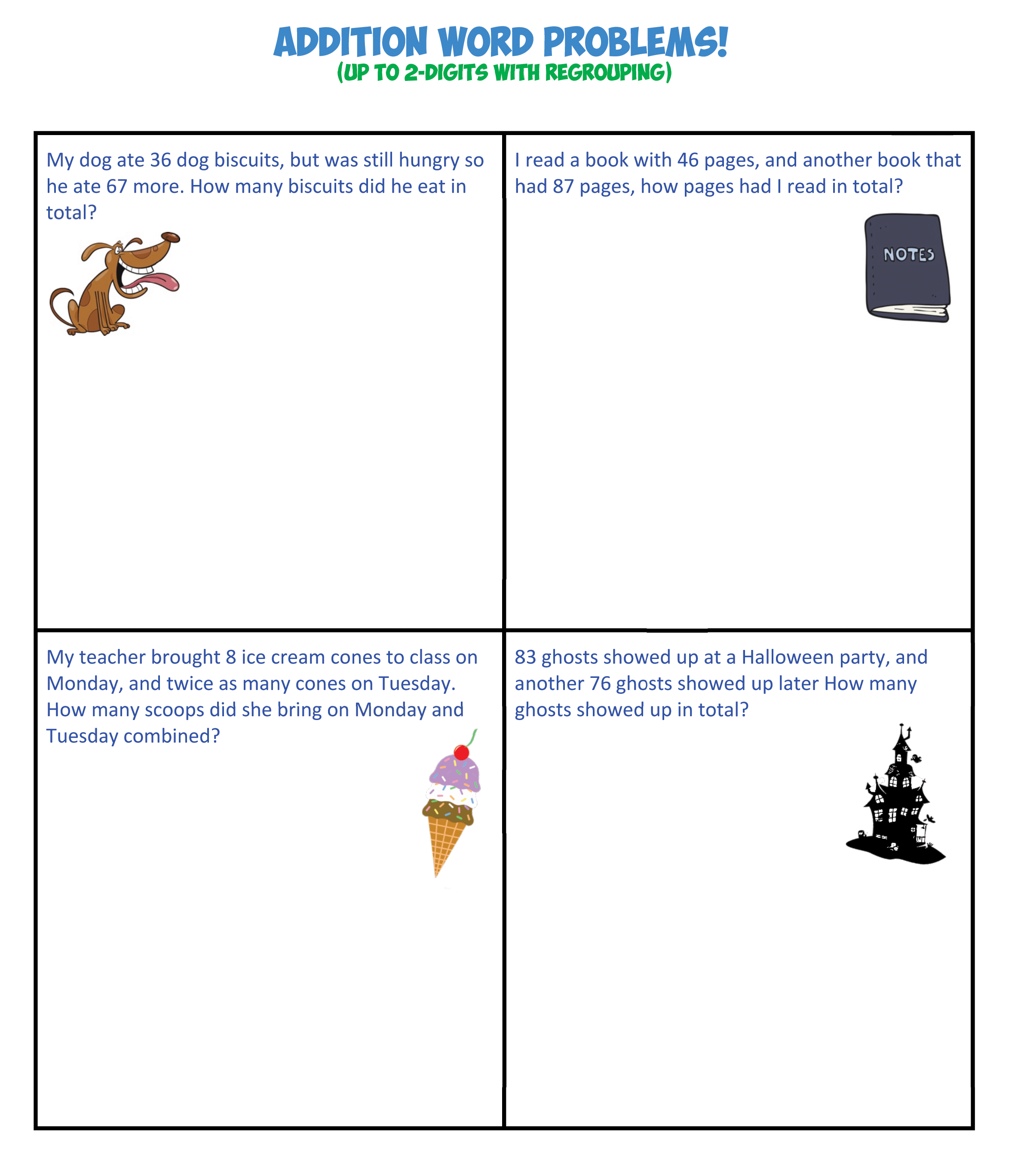 addition word problems 2 digits no regroup