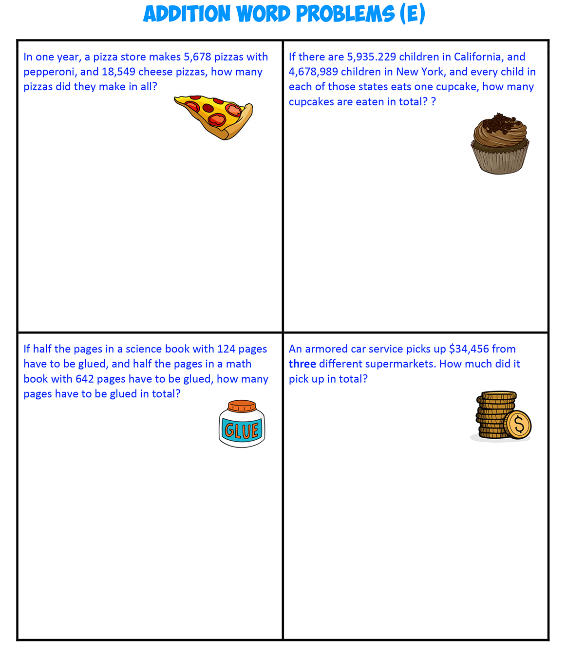 Addition Word Problems E
