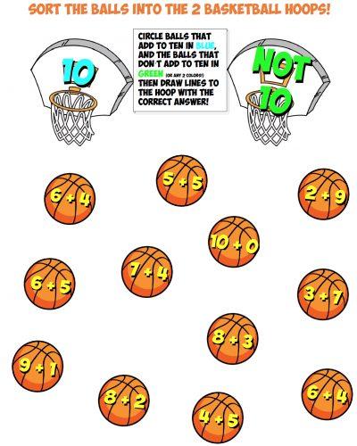 basketball sort worksheet #7 make ten